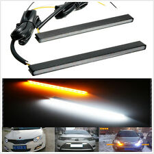 2X White/Amber Switchback Ultra Slim LED Daytime Running Light DRL Fog Lamp