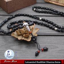 Lotusmind  Black Howlite Skull 108 Buddhist mala prayer bead Mani mantra
