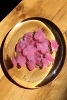 Vintage Antique Glass Paperweight Pink Floral - Flat Large
