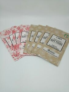 Christmas Gift Tissue Lot Of 8 Christmas Snowflakes Red White