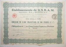 Obligation ancienne : établissement de la S.B.A.M  ( 755 )