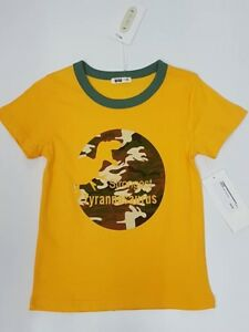 Boys Dinosaur Cotton T-Shirt Size 6 Kid Summer Casual Top Tee  KK28L Yellow 6yrs
