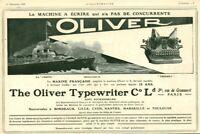 Publicité ancienne machine à écrire Oliver marine 1909 issue de magazine