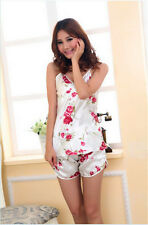 Sexy Flower Sleepwear Braces Shirts + Shorts Underwear pajamas Nightwear Set