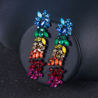 Elegant Women Colorful Rhinestone Statement Geometric Long Pendant Drop Earrings