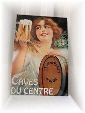 Plaque Publicitaire Vintage Métal en Relief Caves du Centre St Symphorien D'Ozon