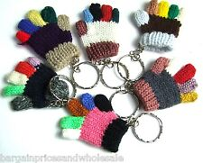 Funky Cute Winter Hand Knitted Glove Multi Colour Keyring Keychain Charm