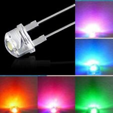 10-500pcs 8mm Straw Hat LED Light Emitting Diode Red Blue Green Yellow White