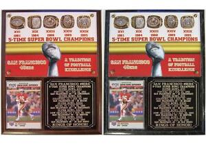 San Francisco 49ers 5-Time Super Bowl Champions Rings of Honor Card Photo Plaque