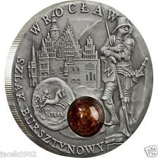 1$ Niue/Poland 2009 AMBER ROUTE -WROCLAW-BRESLAU -Amber insert as in Mineral Art