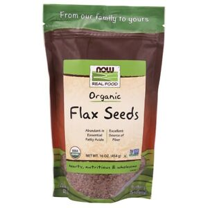 Now Foods Organic Flax Seeds - 16 oz FRESH, FREE SHIPPING, MADE IN USA