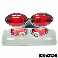 Universal Dual Cat Eye Chrome Custom Motorcycle Tail Brake License Plate Light
