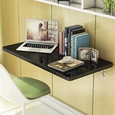 Black Wall Mount Floating Folding Computer Desk Home Office PC Table US Stocking