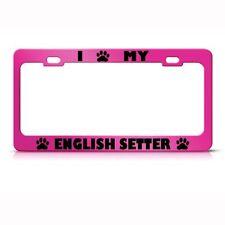 English Setter Dog Pink Animal Metal License Plate Frame Tag Holder