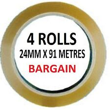4 ROLLS 24MM X 91 METRES CLEAR SELOTAPE PACKING TAPE CELLOTAPE SELLOTAPE