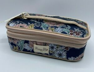 Makeup Bag Tote Cosmetic Double Zip w/Brush Holder Blue Floral Primrose Hill New