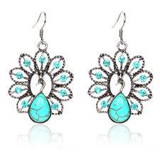 !1567 NiX Turquoise Crystal Drop Women Hanging Silver Earring Peacock Earrings