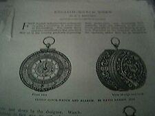 book article 1897 - english watch work f j britten clock watch alarum 5 pages