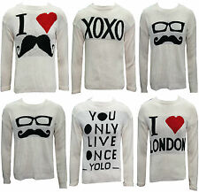 WOMENS LADIES KNITTED LONG SLEEVE YOLO XOXO MUSTACHE CELEBRITY JUMPER TOP 8 - 14