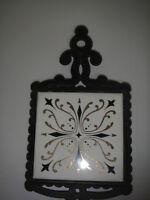 TRIVET Cast Iron w FM Ceramic Tile Black Gold Art Deco Japan Wall Decor.