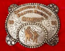 VINTAGE STERLING **1991 SEMINOLE INDIAN RANCH RODEO* CHAMPION TROPHY BELT BUCKLE