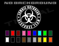 Zombie Outbreak Response Team Biohazard Symbol Jeep Truck Decal Sticker Vinyl
