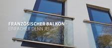 Französischer  Balkon inkl. 12,52mm Glas Fensterbrüstung  V4A Glasgeländer