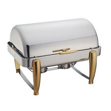 Winco 101A, 8-Quart Full Size Virtuoso Oblong Roll Top Chafer with Gold Accents