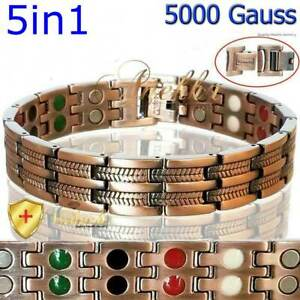 5IN1 PURE SOLID COPPER MAGNETIC BRACELET ARTHRITIS THERAPY FOR MEN WOMEN PC11
