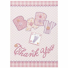8 Baby Pink Stitching Baby Shower Party Thank You cards Plus Envelopes