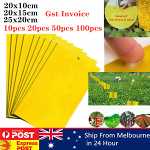 Up to 100pcs Yellow Sticky Glue paper Insect Trap Catcher Killer Fly Aphids Wasp