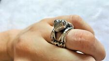 Frog 925 Sterling Silver Ring Handmade Frog Animal Ring Good Luck Ring Talisman