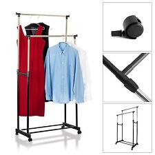 Double Mobile Clothes Coat Garment Hanging Rail Rack Storage Stand Castors