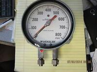 """0-800 PSIG Settable 4 ½"""" Duplex Pressure Gage Ashcroft / Weksler 1038A [Z4S4]"""