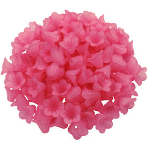 100PCS Multicolor Transparent Frosted Morning Gory Flower Acrylic Beads Caps