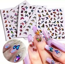Holographic 3D Self Adhesive Nails Stickers Nail Art Laser Butterfly (U Pick)