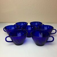 Lot 7 Arcoroc France Cobalt Blue Glass Tea Coffee Espresso Cups EUC Swirl