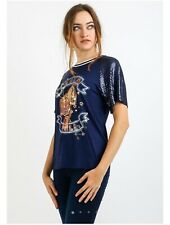 OUI Tiger Print Sequin T-Shirt Navy Blue 62824 Size 14 40 New