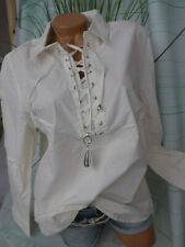 Paola Bluse Shirt Gr 44 bis 54 Übergröße creme weiß mit Schnürung (690)