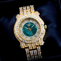 Fully Iced Men Gold Green Watch Bling Rapper Simulate Lab Diamond Luxury Band