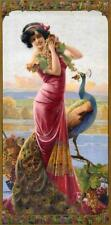 GASPAR CAMPS, ART NOUVEAU, WOMAN WITH PEACOCK, FRIDGE MAGNET