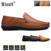 Men's Leather Casual Shoes Antiskid Loafers Moccasins Flat Boat Driving Shoes UK