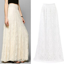 Damen Sommer Hohe Taille Langer Rock Hohl Spitze  Boho Party Lang Maxi-Kleid