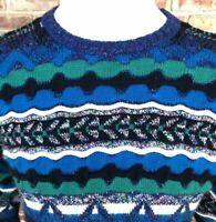 Vintage Bright Color 3D Striped Crew Neck Sweater Sz X-Large Coogi Style Cosby