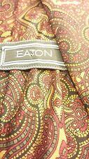 "Authentic, EATON, Silk, Gold/Red, Geometric Print, XL Neck Tie (63"")"