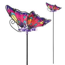 """Butterfly Plant pick 21""""Metal & Glass Butterfly Purple  Regal Art & Gift 10647"""