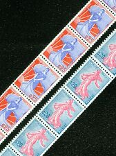 FRANCE : 1960. Maury Roulette #41-42 Strips of 11. Very Fine, Mint NH. Cat €540.