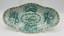 """Mottahedeh TORQUAY GREEN with Gold Trim Celery Dish, 10 1/8"""",  England"""