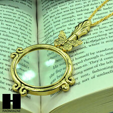 """Gold 5x Magnifying Glass Antique Butterfly Pendant 31"""" Chain Necklace SJ022G"""
