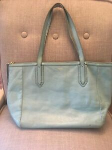 Fossil Sky Blue Leather Sydney Tote Bag Purse As Is Large Zip Top